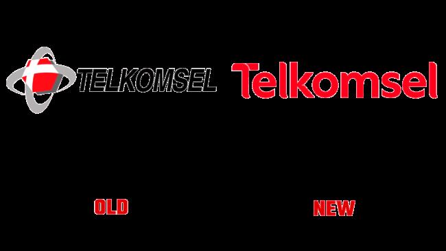 Telkomsel vecchio e nuovo logo (storia)