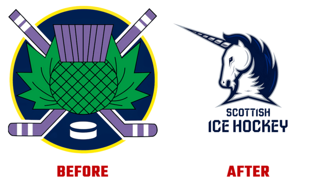Scottish Ice Hockey Prima e Dopo Logo (storia)