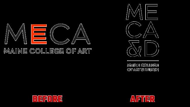 Maine College of Art & Design (MECA&D) Prima e Dopo Logo (storia)
