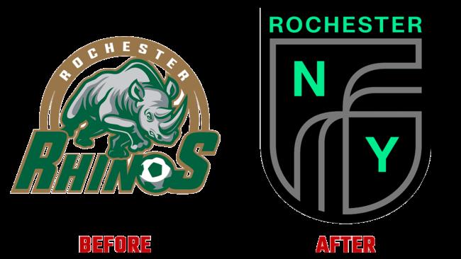Rochester New York FC Prima e Dopo Logo (storia)