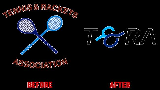 Tennis and Rackets Association Prima e Dopo Logo (storia)